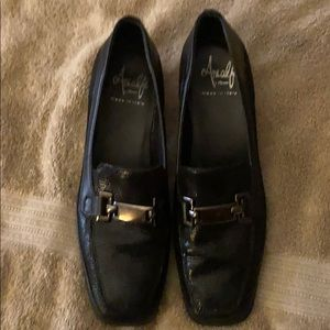 AMALFI BY RANGONI BLACK LEATHER LOAFERS